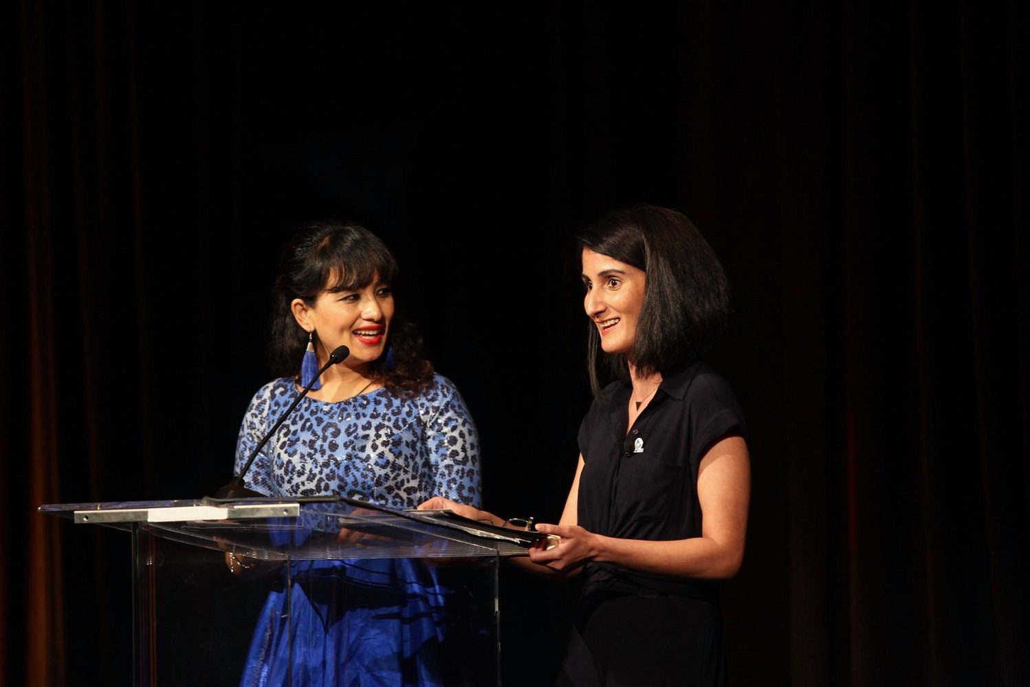 Nilima and Mariam sharing the stage as Emcee at the Atlas Corps Gala